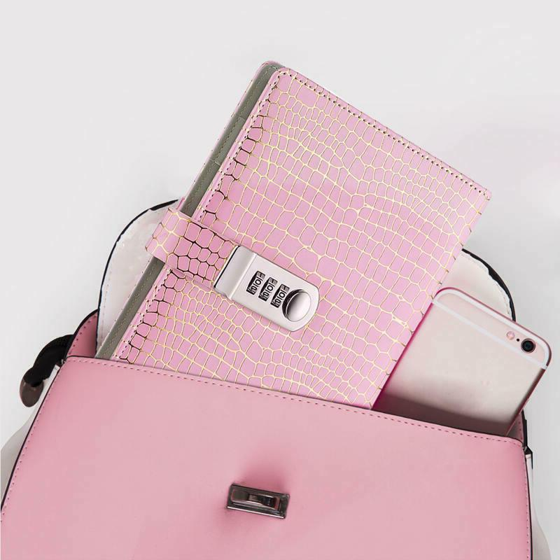 womens pink leather diary journal with code