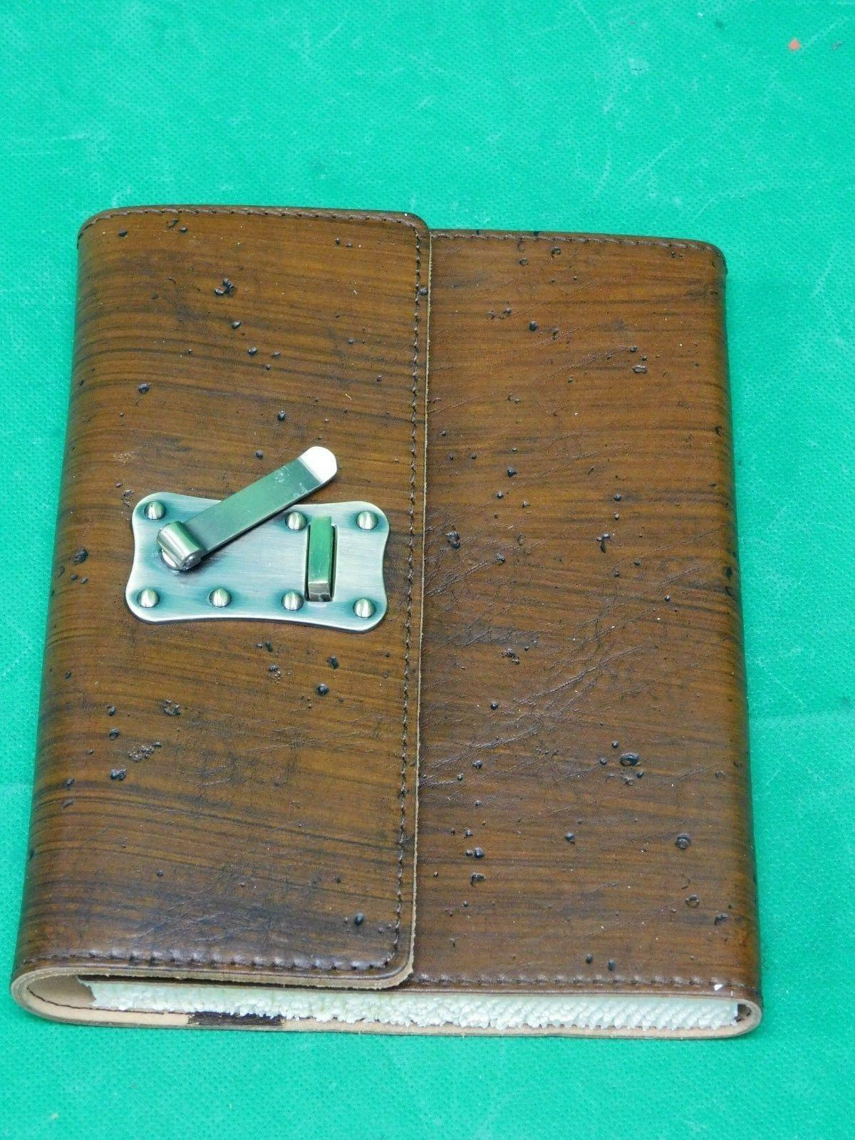 wood textured brown italian leather journal