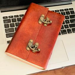 Large Leather Journal double lock RedNotebook Travel Journal