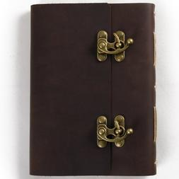 Ancicraft Leather Bound Journal Blank Pages with Cool Lock W