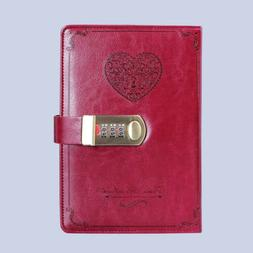 Leather Cover Vintage Journals Passcode Notebook Lined Paper