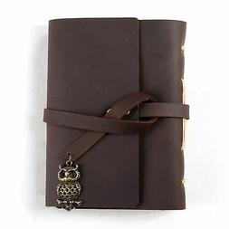 Ancicraft Leather Diary Journal with Vintage Owl A6 Lined Cr