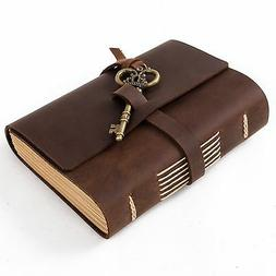 Ancicraft Leather Journal Diary with Vintage Key A6 Lined Pa