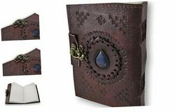 Leather Journal Embossed Blue Stone Vintage Diary Unlined Bl