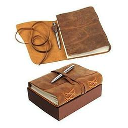 LEATHER JOURNAL Gift Set Handmade - Ideal Present with Secre