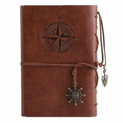 Leather Journal Refillable Spiral Daily Notepad Classic Embo