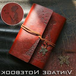 Leather Journal Vintage Spiral Bound Notebook Refillable Dai