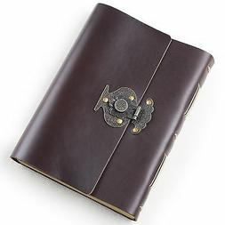 Ancicraft Leather Journal with Vintage Flower Vase Lock A5 B