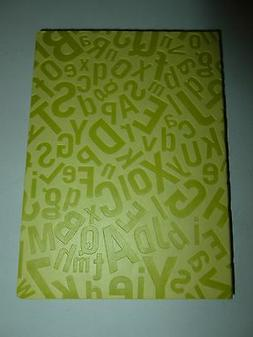 LIME GREEN ECCOLO FAUX LEATHER ALPHABET LETTERS EMBOSSED LIN