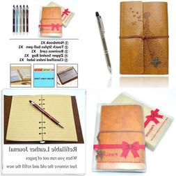 Freude Lined Writing Journals Notebook  Refillable Leather W