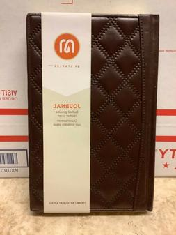 M by Staples Journal Brown Quilted Leather 240 Narrow Ruled