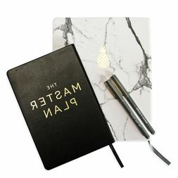 New Eccolo 2 Journals & 2 Ink Pen Set Black Marble Master Pl