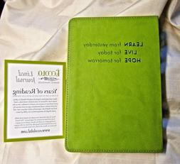 NEW ECCOLO JOURNAL WORLD TRAVELER FAUX LEATHER LIME GREEN CO
