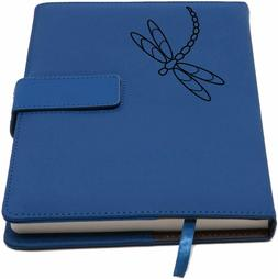 Nice! Dragonfly Blue Faux Leather Refillable Writer's Blank