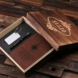 Personalized 4pc Gift Set w/ Leather Journal, Pen, Luggage T