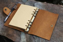Personalized refillable 6 ring rustic leather A6 journal cov