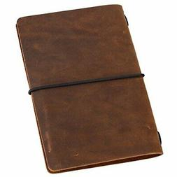 Pocket Travelers Notebook, Refillable Leather Travel Journal