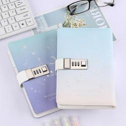 PU Leather Clean Simple Journal Notebook Lined Paper Diary P