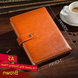 Brown PU Leather Lined Paper Diary Journal Business Notebook