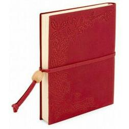 Amarcord Red Leather Floral Embossed Journal Lined Made in I