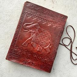 Red Leather Journal Embossed Elephant Junk Travelers writing