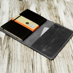 Refillable Black Leather Journal cover moleskine notebook fi