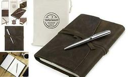 Refillable Leather Journal Gift Set - with Luxury Pen - Rust