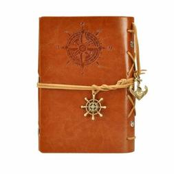 Retro Vintage Leather Bound Blank Page Notebook Note Notepad