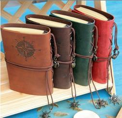 Retro Vintage PU Leather Bound Blank Page Notebook Note Note