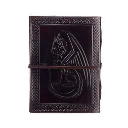 Sitting Dragon Leather Journal, 125 Unlined Recycled Paper P
