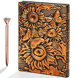 Sunflower Journal Leather Writing Notebook Lined 200Pages Pe