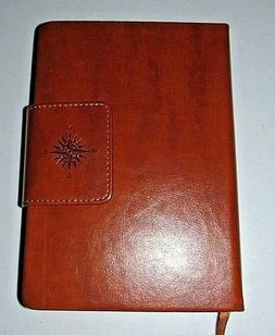 ECCOLO TAN FAUX LEATHER COMPASS TRAVEL QUOTES JOURNAL