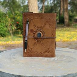 Handmade Triple Moon Design With Blue Stone Leather Journal