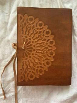 Vetro Stamped Brown Italian Leather Journal with Tie-