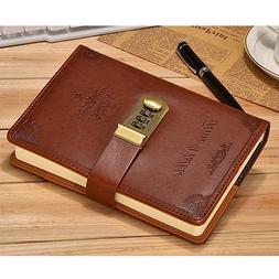 Vintage Brown Leather Diary Writing Journal with Combination