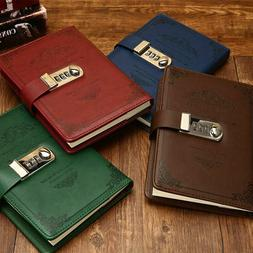 Vintage Leather Journal Diary with Lock 3 Digit Code Secret
