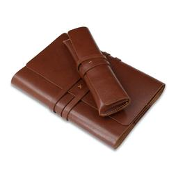 Vintage Wrap Style Leather Notebook Cover and Pencil Case Se