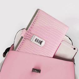 Womens Pink Leather Diary Journal with Code Lock Secret Pers