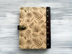 Wood Journal A5 Tropical Palm Leaves Wooden Notebook for Her