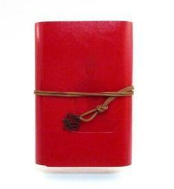 YOGA LADY Leatherette Diary Journal ~ Red Leather Tie Closur